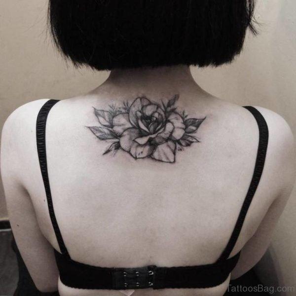 Black And Grey Rose Tattoo On Girl Upper Back