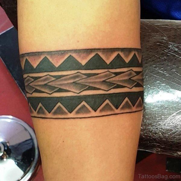 Black And Grey Tribal Band Tattoo