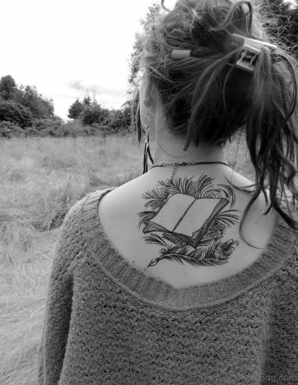 Black And White Book Tattoo On Back