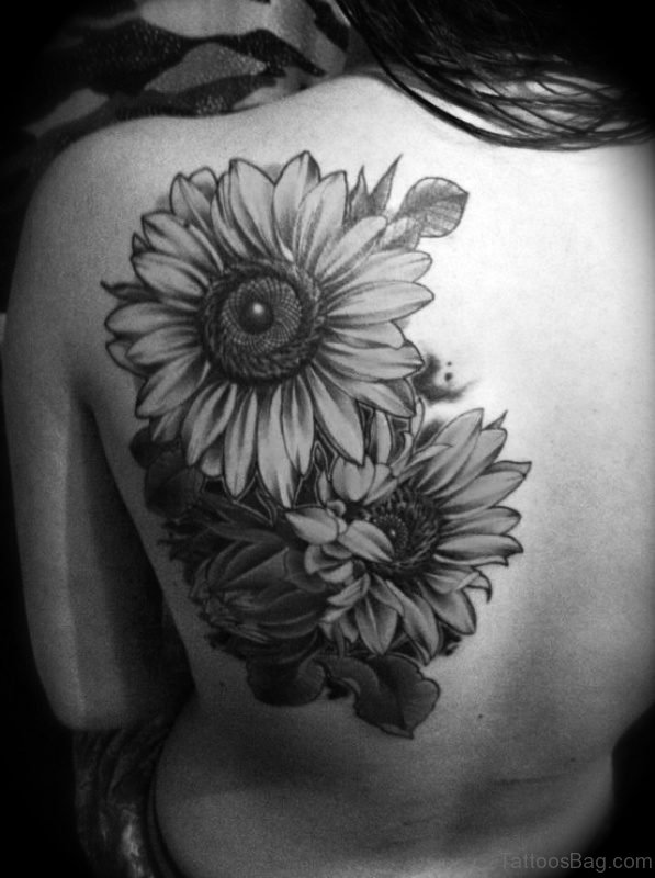 Black And White Flowers Tattoo Design