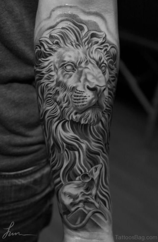 Black And White Lion Tattoo On Arm