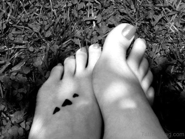 Black And White Three Heart Tattoo