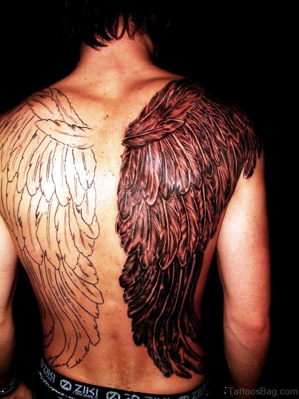 Black And White Wings Tattoo On Back