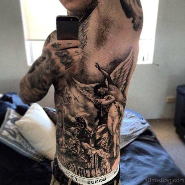 Black Angel Tattoo For Men On Rib