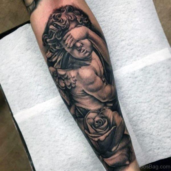 Black Angel Tattoo On Wrist