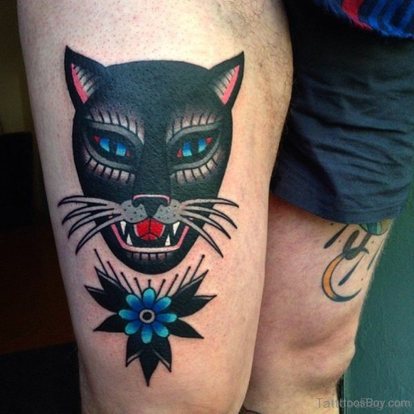 Black Angry Cat Tattoo On Thigh