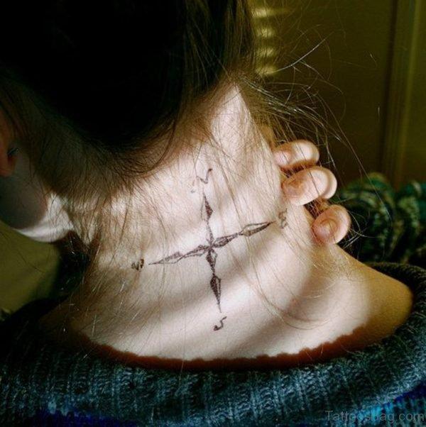 Black Arrow Compass Tattoo On Girl Nape