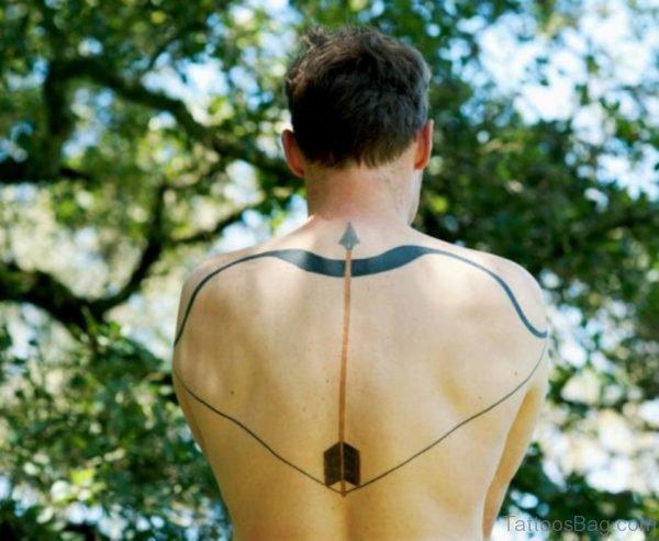 Black Arrow Tattoo On Back