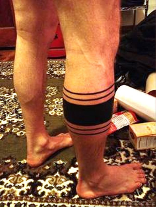 Black Band Tattoo On Leg
