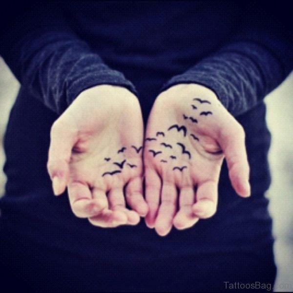 Black Birds Tattoo On hand
