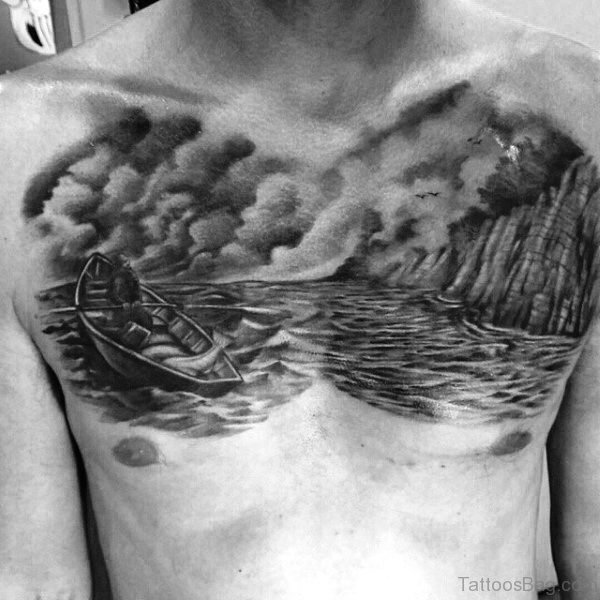 Black Boat On Water Tattoo Design