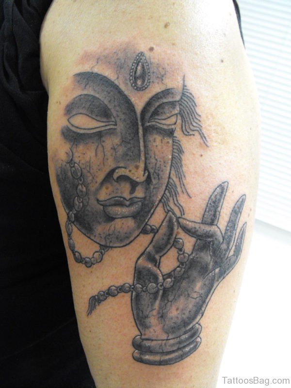 Black Buddhist Tattoo On Shoulder