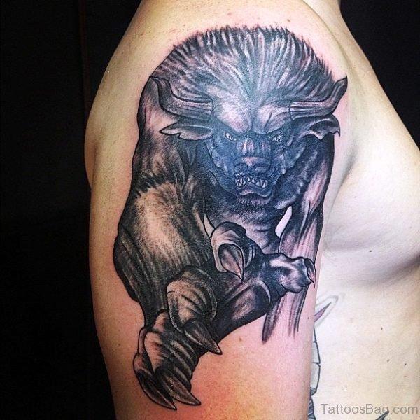 Black Bull With Big Nails Tattoo Design