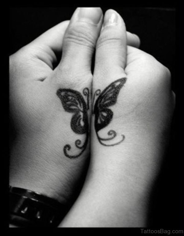 Black Butterfly Tattoo Design On Hand