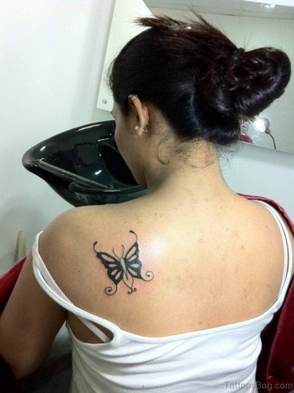 Black Butterfly Tattoo On Back