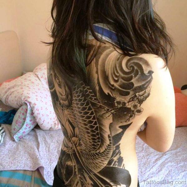 Black Carp Tattoo On Back