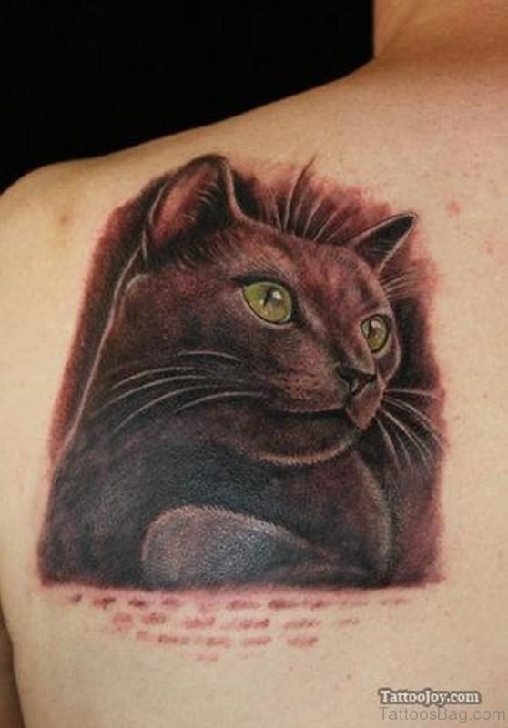 Black Cat Shoulder Tattoo
