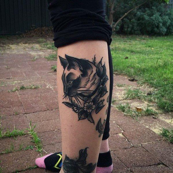 Black Cat Tattoo on Leg