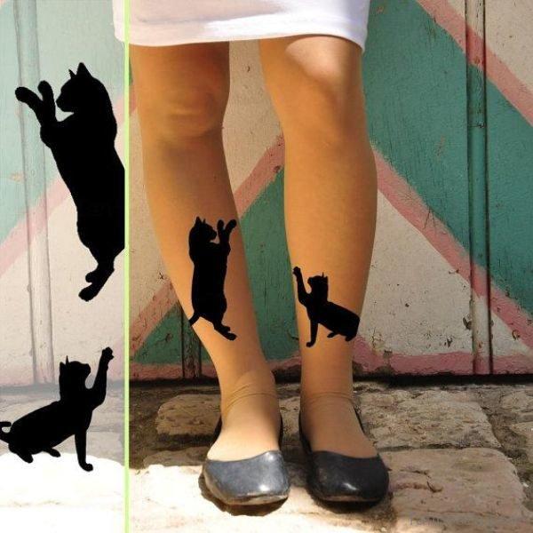 Black Cats Tattoo On Leg