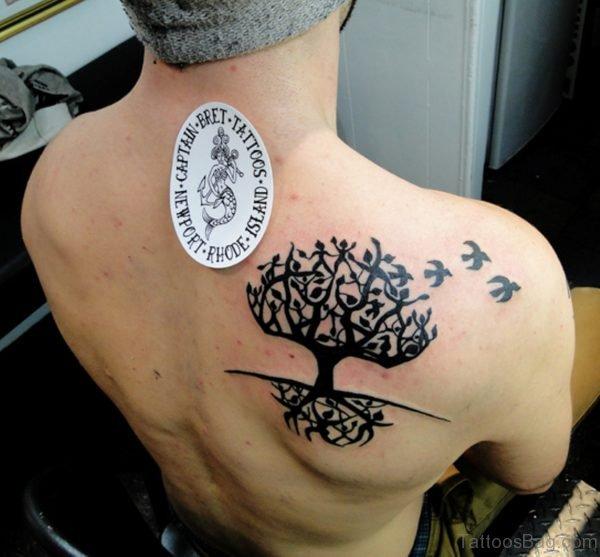 Black Celtic Tree Tattoo Design