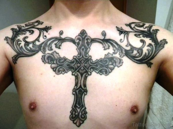 Black Cross Sign With Wings Tattoo