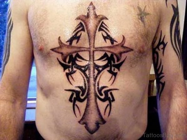 Black Cross Tattoo On Stomach