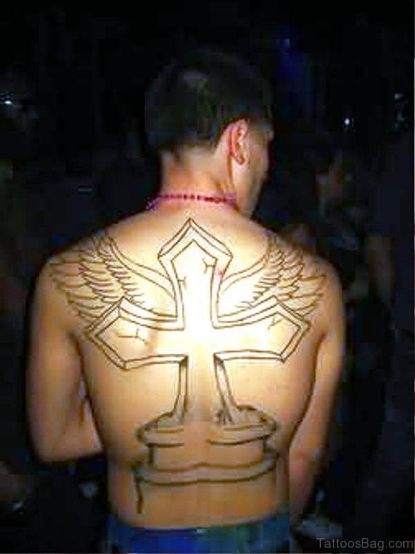 Black Cross With Wings Tattoo On Back