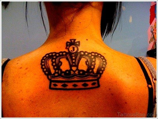 Black Crown Tattoo On Back
