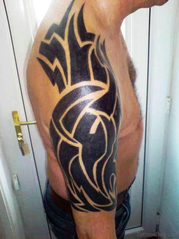 Black Dark Tribal Tattoo Design