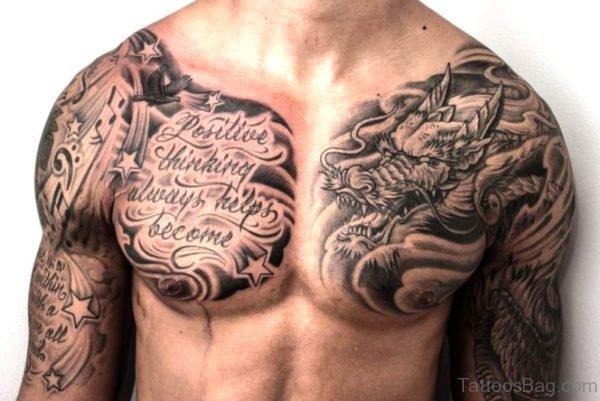 Black Dragon Tattoo On Chest