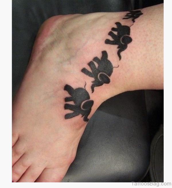 Black Elephant Foot Tatoo