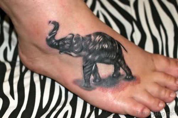 Black Elephant Tattoo On Foot
