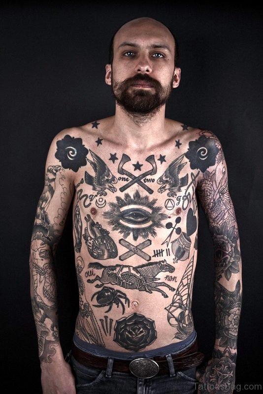 Black Eye Tattoo On Chest