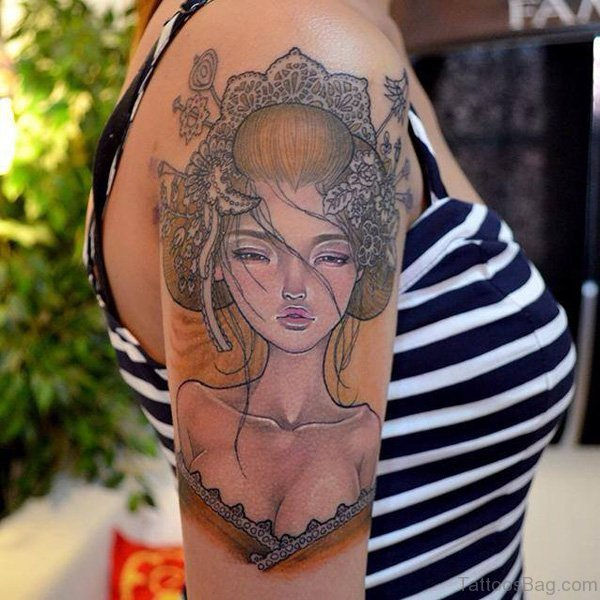 Black Geisha Girl Tattoo On Shoulder