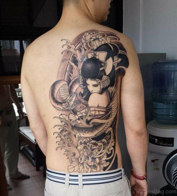 Black Geisha Tattoo On Back