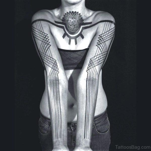 Black Geometric Tattoo On Chest