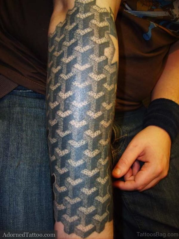 Black Geometric Tattoo On Full Sleeve