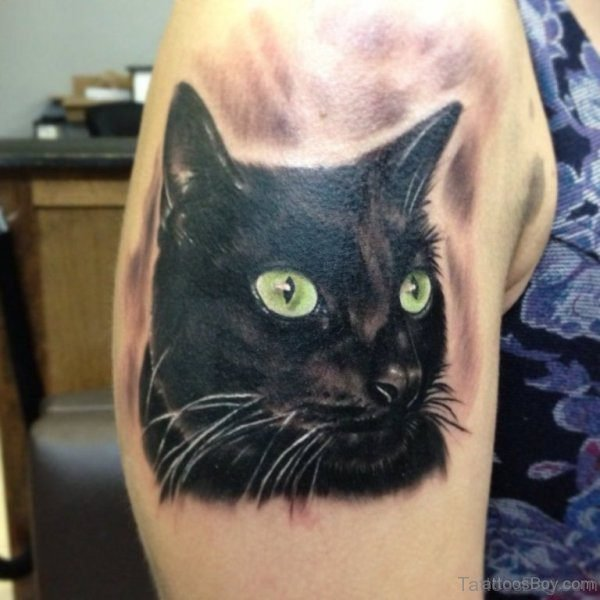 Black Green Eye Cat Tattoo