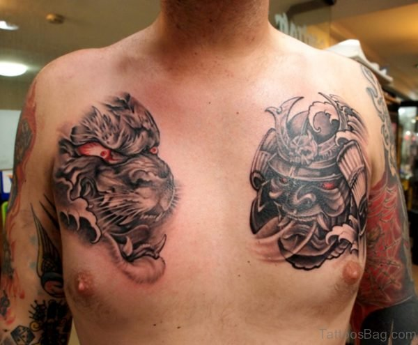Black Grey Tiger Tattoo Mask Tattoo