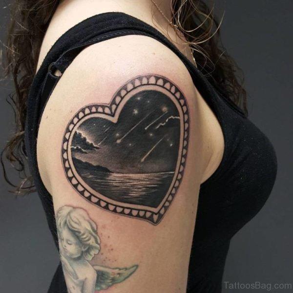 Black Heart Shoulder Tattoo