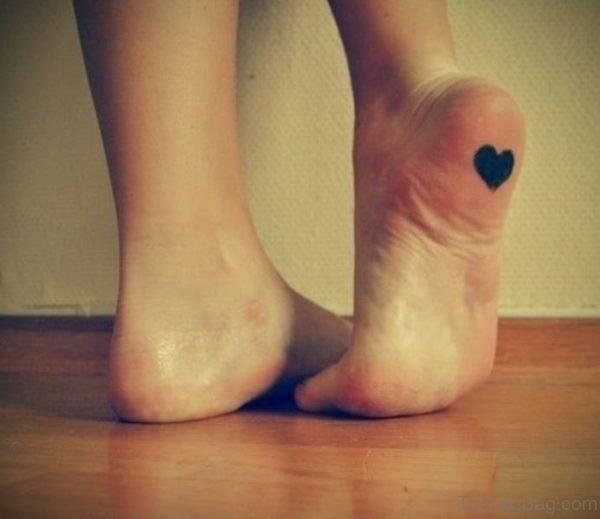 Black Heart Tattoo On Foot