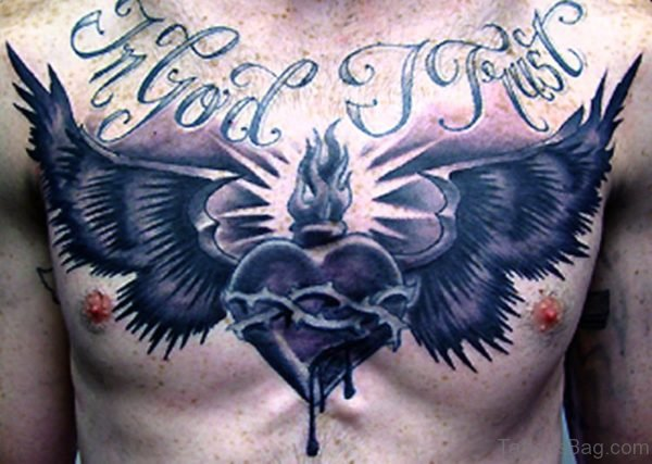 Black Heart Tattoo With Wings