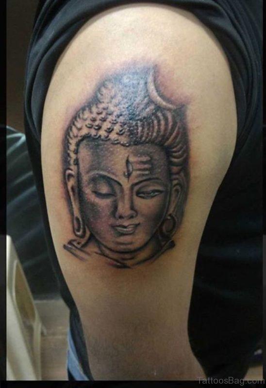 Black In Shiva Head Tattoo