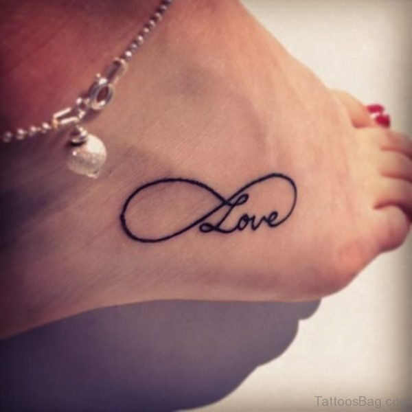 Black Infinity Love Tattoo on Ankle