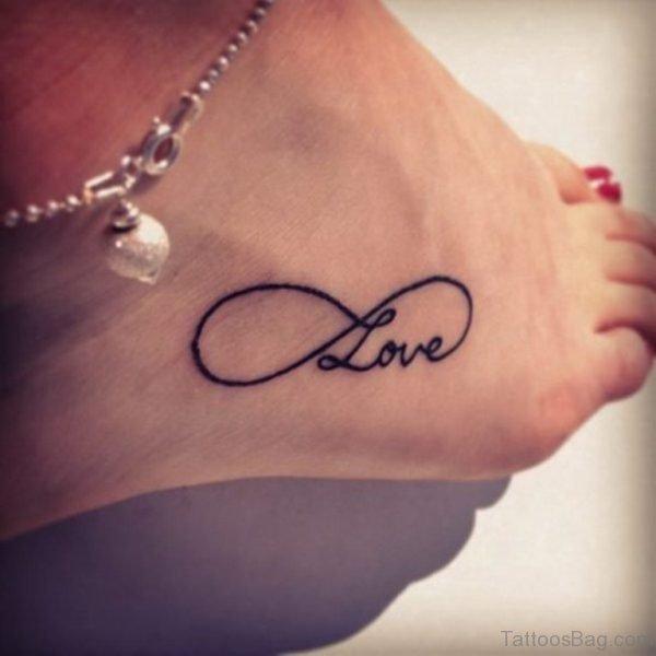Black Infinity Love Tattoo on Ankle