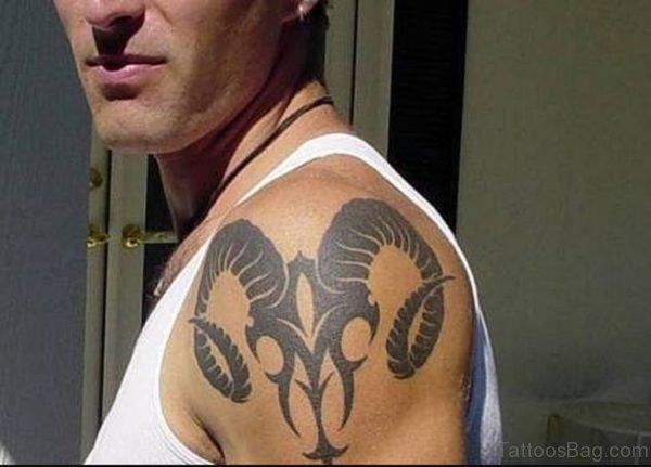 Black Ink Aries Tattoo