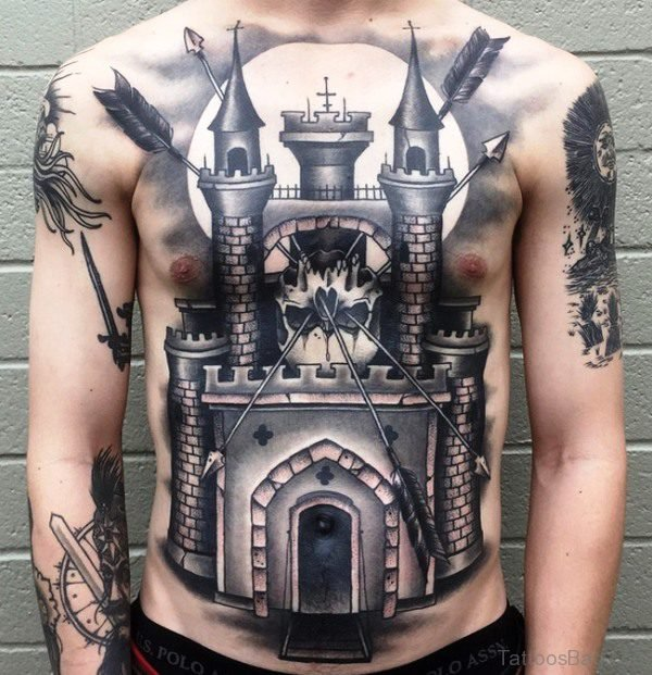 Black Ink Arrows In Castle Tattoo On Chest