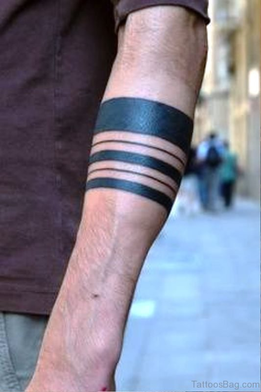 Black Ink Band Tattoo On Arm