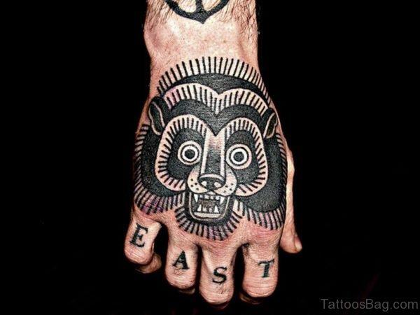 Black Ink Bear Tattoo