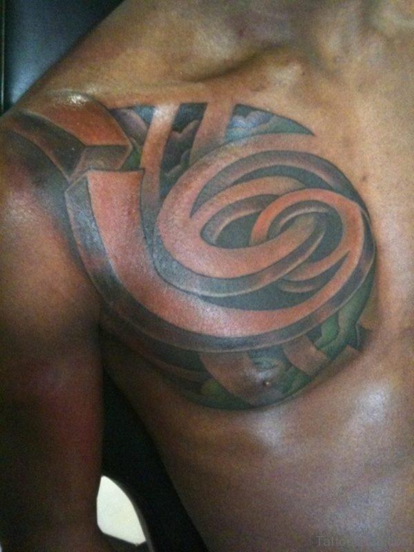 Black Ink Capricorn Tattoo On Man Chest